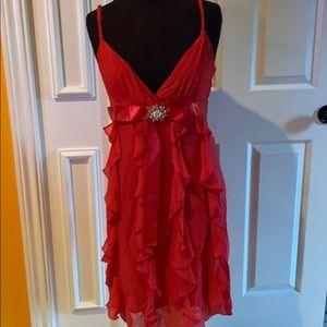 HOLIDAYS ARE CALLING! BCBG red silk dress. 🔥🔥🔥